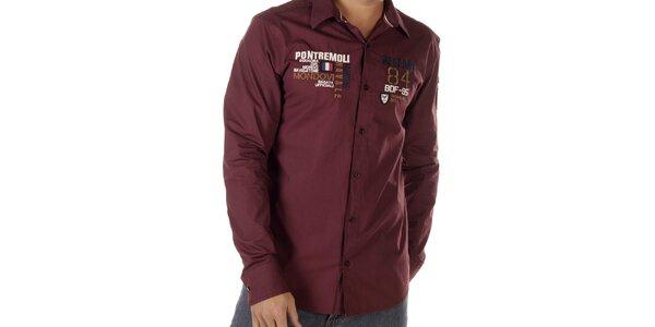 Pánská bordó košile s nášivkami na hrudi Bendorff