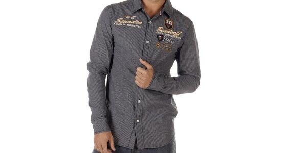 Pánská šedá kostkovaná košile s nášivkami na hrudi Bendorff