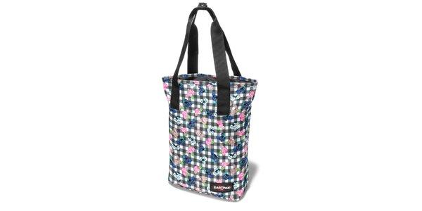 Dámská šedorůžová kostkovaná taška Eastpak s květinovým potiskem