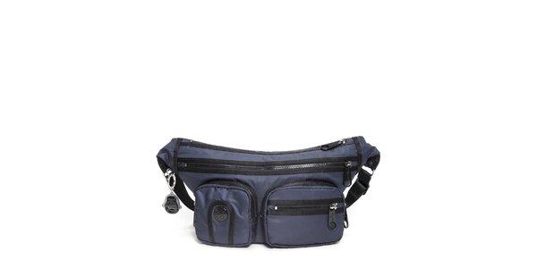 Šusťáková kabelka Kipling v modré barvě s kapsami
