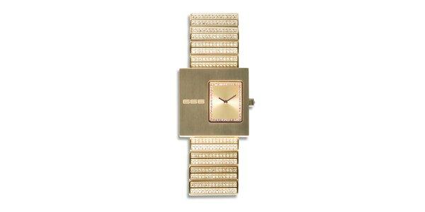 Pánské zlaté analogové hodinky s kamínky 666 Barcelona