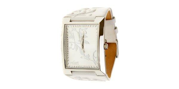 Dámské ocelové hodinky Axcent s bílým koženým řemínkem a ornamentem