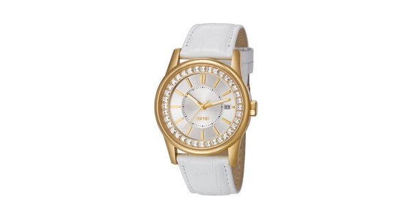 Dámské zlato-bílé hodinky s bílým řemínkem Esprit