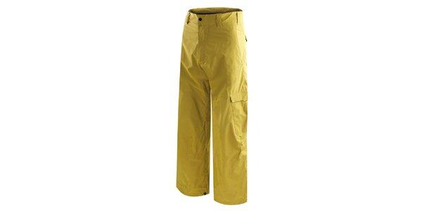 Pánské žluté snowboardové kalhoty s potiskem