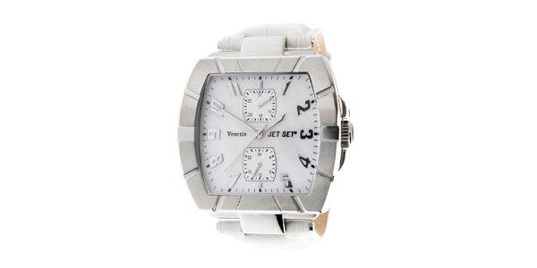 Dámské ocelové náramkové hodinky Jet Set s bílým koženým řemínkem