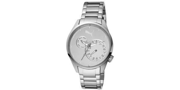 Dámské stříbrné ocelové analogové hodinky Puma