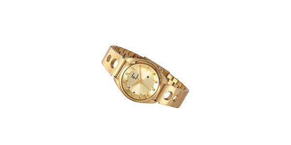 Dámské zlaté analogové hodinky Replay s prolamovaným páskem
