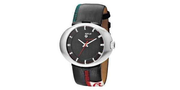 Dámské černé oválné hodinky s prošívanými detaily Replay