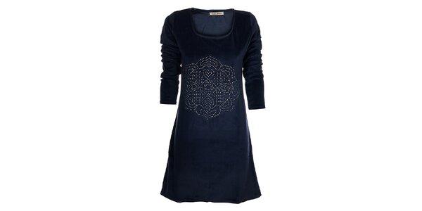 Dámské tmavě modré sametové šaty Snake Milano s kovovými cvoky
