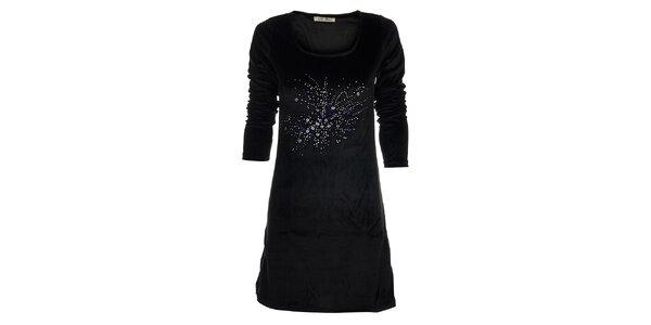 Dámské černé saténové šaty Snake Milano s kamínky