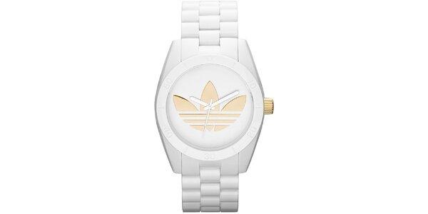 Unisexové bílé ocelové hodinky Adidas se zlatým logem eab4161673