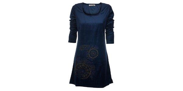 Dámské tmavě modré šaty Snake Milano s barevnými kamínky