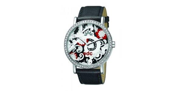 Dámské retro hodinky s černým koženým řemínkem EDC by Esprit