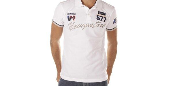 Pánské bílé polo triko s nápisem Bendorff