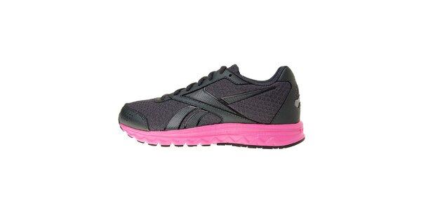 Dámské tmavě šedé běžecké boty Rebook s růžovou podrážkou