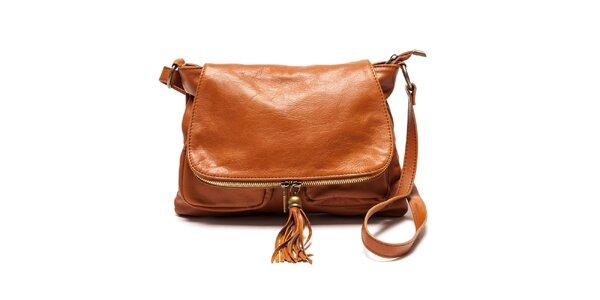 Dámská kožená kabelka přes rameno v barvě koňaku Luisa Vannini
