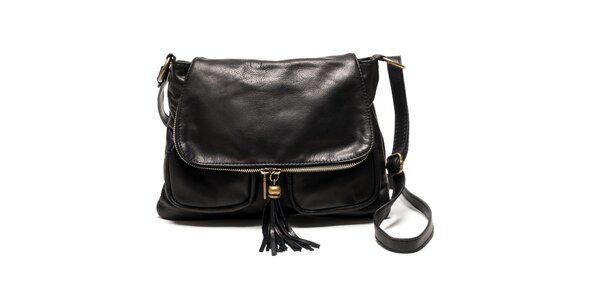 Dámská kožená kabelka přes rameno v černé barvě Luisa Vannini