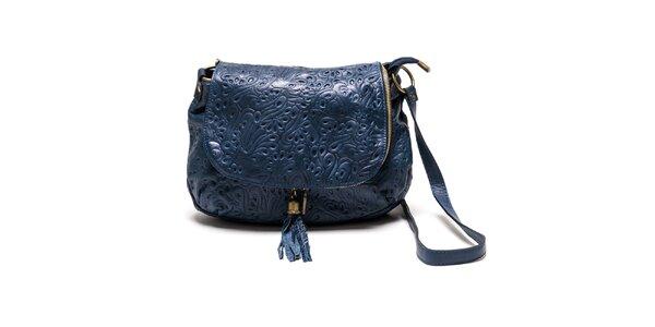 Dámská modrá kožená kabelka se vzorem Luisa Vannini