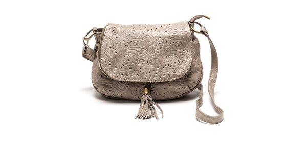 Dámská světlá kožená kabelka se vzorem Luisa Vannini