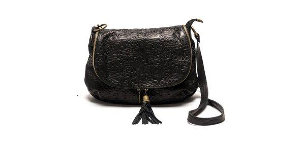 Dámská černá kožená kabelka se vzorem Luisa Vannini
