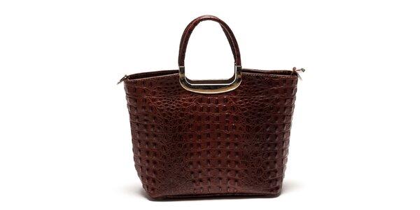 Dámská kabelka z pravé kůže v tmavě hnědé barvě Luisa Vannini