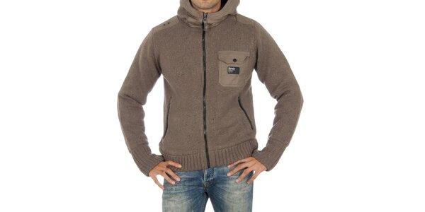 Pánský béžový svetr Bench s kapucí
