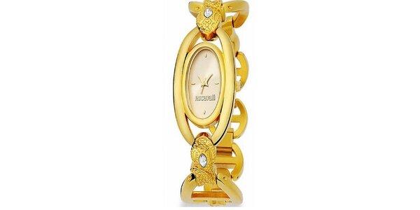 Dámské náramkové hodinky Just Cavalli s oválným ciferníkem ve zlaté barvě