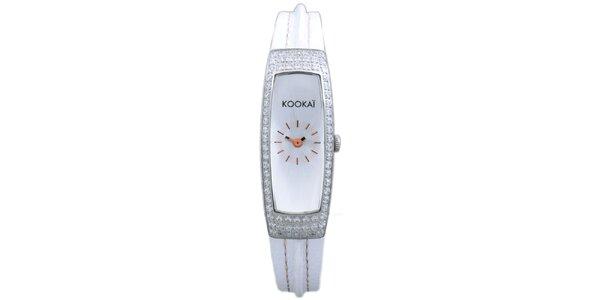 Dámské bílé hodinky Kookai s třpytivým ciferníkem