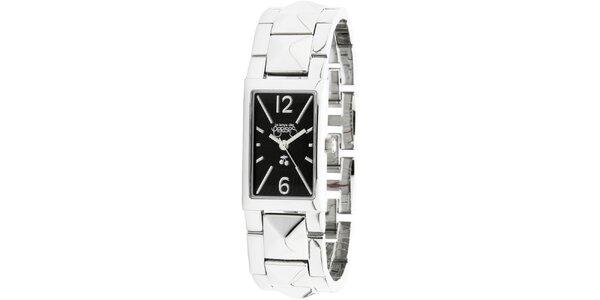 Dámské stříbrné hodinky s černým ciferníkem Le Temps des Cerises