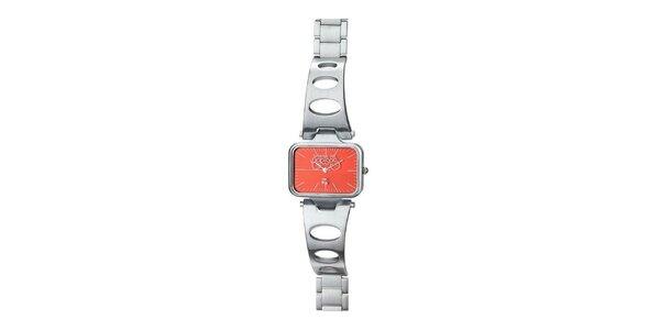Dámské stříbrné hodinky s oranžovým ciferníkem Le Temps des Cerises