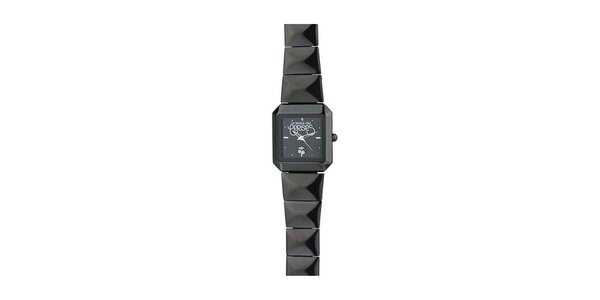 Dámské černé hranaté hodinky Le Temps des Cerises