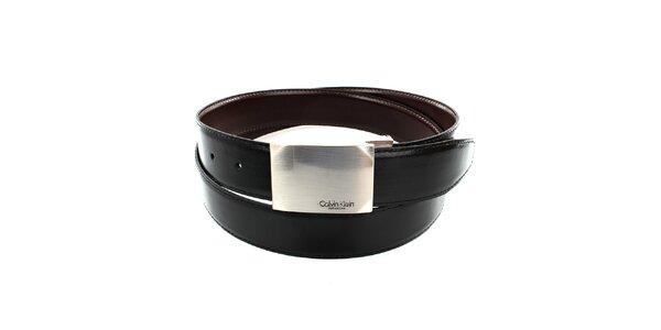 Pánský černý oboustranný pásek se čtvercovou stříbrnou sponou Calvin Klien