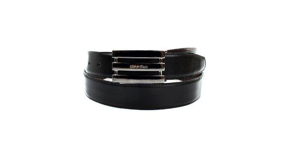 Pánský černý oboustranný pásek Calvin Klien s trojitou stříbrnou sponou