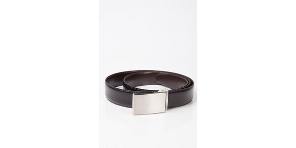Pánský oboustranný pásek s kovovou stříbrnou sponou Calvin Klein