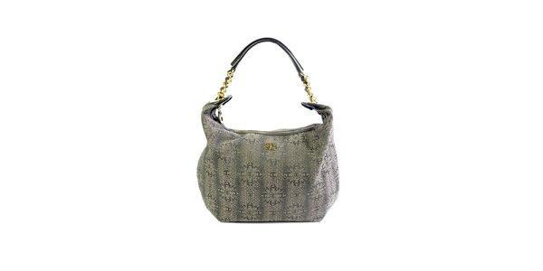 Dámská šedá kabelka se vzorem a zlatými detaily Just Cavalli
