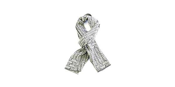Světle šedá vlněná šála s nápisem Just Cavalli