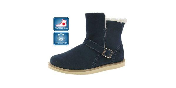Dámské modré kožené boty Beppi