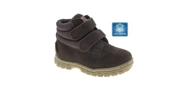 Dětské tmavě hnědé kotníkové boty Beppi