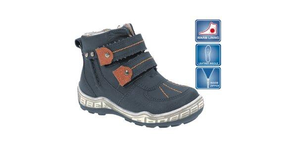 Dětské modré kotníkové boty s hnědými prvky Beppi