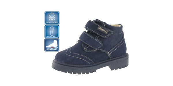 Dětské tmavě modré kožené boty Beppi