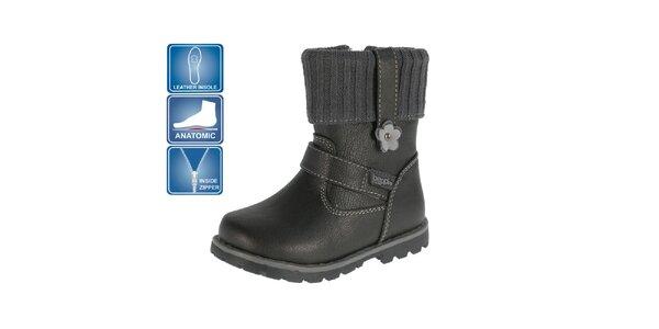 Dětské černé anatomicky tvarovné boty Beppi