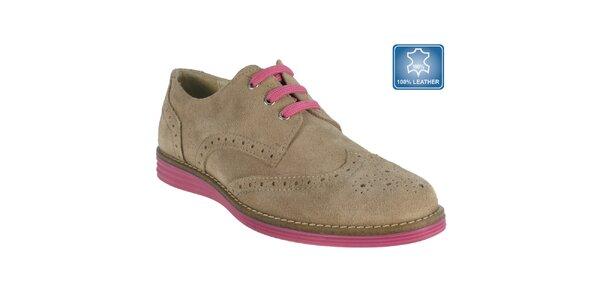 Dámské béžové boty s perforací Beppi