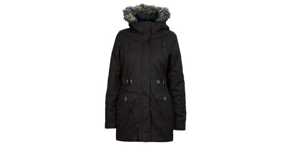 Dámský antracitový kabát s modrými knoflíky Bench