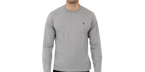 Pánské světle šedé melírované tričko Ralph Lauren