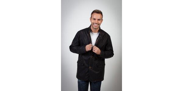 Pánská černá bunda s rovným střihem Spagnolo