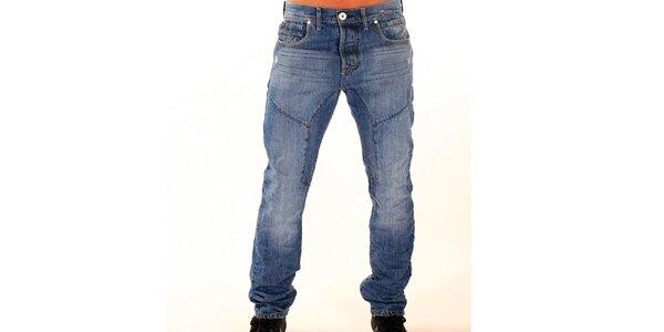 Pánské modré džíny s vyšisovanými koleny New Caro