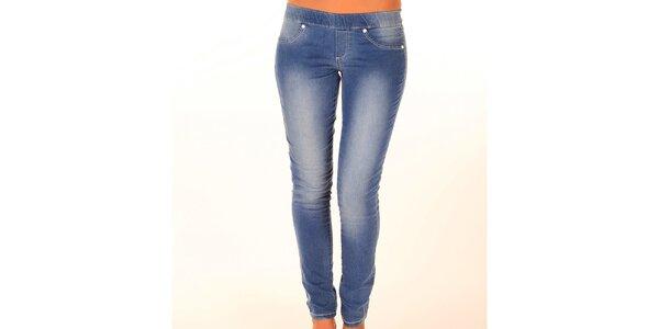 Dámské modré džíny s elastickým pasem New Caro
