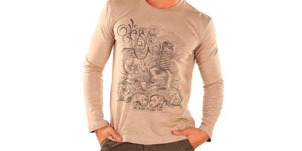 Pánské béžové tričko s dlouhým rukávem New Caro