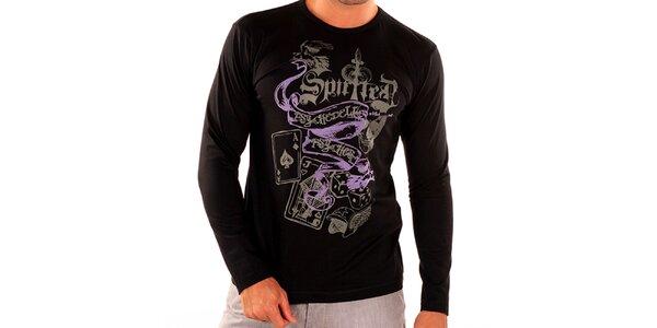 Pánské černé tričko s dlouhým rukávem New Caro