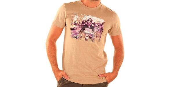 Pánské béžové tričko s krátkým rukávem New Caro